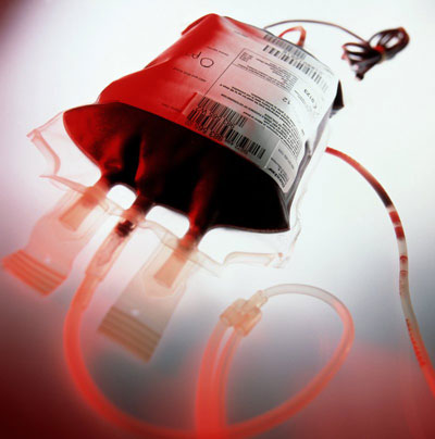 We maintain a supply of whole blood for transfusions.